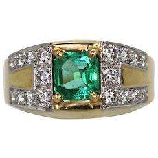 David Webb Green Emerald Diamond Ring