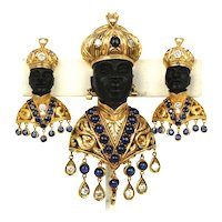Antique Blackamoor 18K Yellow Gold Brooch and Earrings covered in Sapphires circa 1890's