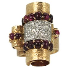 Deco Retro 1930's Ruby Cabochon 14K and Platinum Diamond Ring 4.49 total carat weight