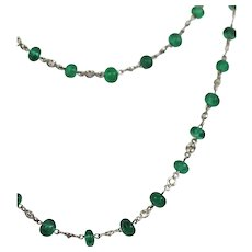 Ladies 18K Diamond and Emerald Long Beaded Chain Necklace 28.32 carats