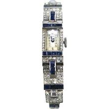 Art Deco Diamond Platinum 90/10 Sapphire Watch Bracelet Circa 1935