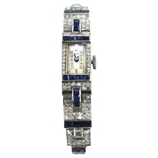 Art Deco Diamond Platinum 90/10 Sapphire Watch Bracelet Circa 1935