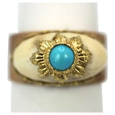 Mario Buccellati 18K Textured Brushed Yellow Gold Ring with Turquoise (part of a set)