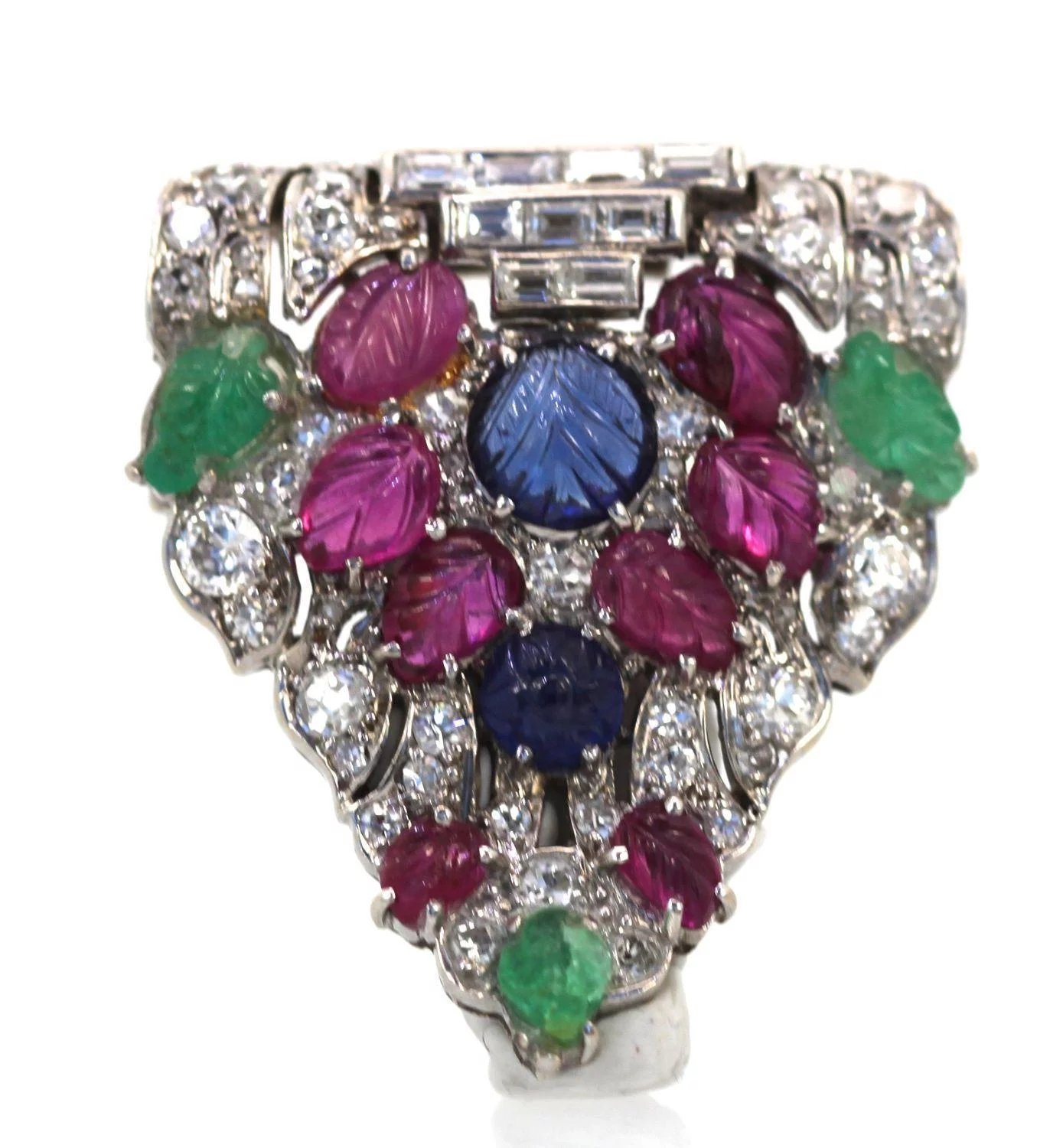 Art Deco Platinum Carved Ruby Sapphire Emerald And