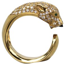 Cartier 18K Yellow Gold Panthere Ring with Diamond Head