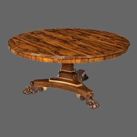 A Regency rosewood five-foot tilt-top centre table
