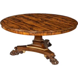 A Regency rosewood five-foot tilt-top centre table