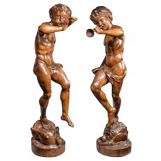 Two Italian pine Bacchanalian figures
