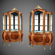A Pair of Napoleon III Kingwood Vitrines, Decorated with Floral Marquetry, with Ormolu Mounts