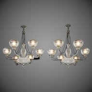 A Pair of Six-Light Frosted and Etched Glass Chandelier by Osler