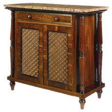 A Regency brass inlaid Gonzalo Alves and Ebonised side cabinet