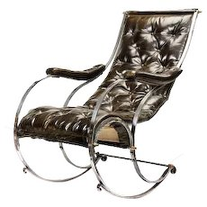 An early Victorian steel rocking chair
