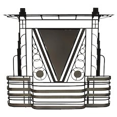 French Art Deco 1930's wall stand hat rack with shelves