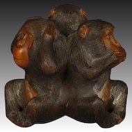 "Japanese wood Okimono of three monkeys ""See No Evil, Hear No Evil, Speak No Evil"","