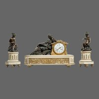 Napoleon III ormolu mounted marble clock set by Deniere.
