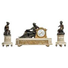 Napoleon III ormolu mounted marble clock set by Deniere.