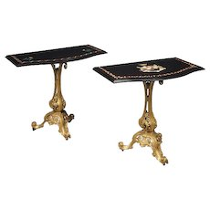 Pair of Victorian gilt cast-iron console tables with marble tops