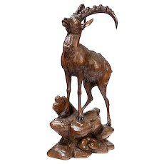 A Black Forest wood carving of an Ibex