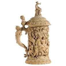A superb German ivory tankard