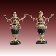 A Pair of Victorian Silver Gilt Candelabra