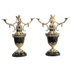 A Pair of Victorian Silver Gilt Candelabra