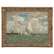 Norman wilkinson. ( British 1878- 1971)  An oil painting of yachts racing in Portland harbour.