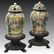 Pair of Canton Temple Jars