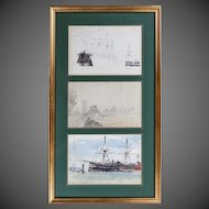 set of three pen, ink and water colour sketches by Montague Dawson RA