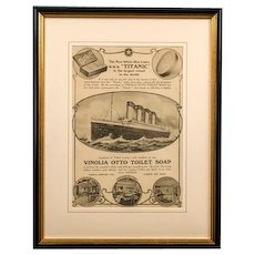 An orginal advertisement for Vinola otto soap as supplied to HMS Titanic