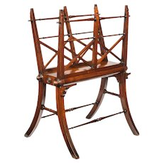 Regency mahogany folio stand, with Finley turned stretchers