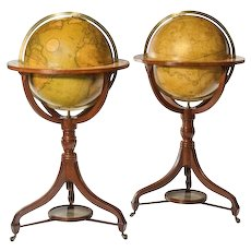 "A fine pair of Cary's 18"" floor standing library globes"
