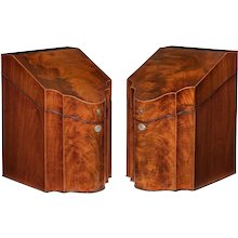 A fine pair of George lll mahogany knife boxes