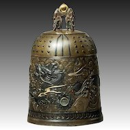 A Meiji period mixed metal bell casket by the Nogowa foundary,