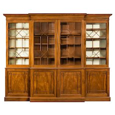A late Regency mahogany breakfront bookcase