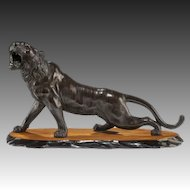 A Meiji period bronze of a snarling tiger (Japan, c. 1890)