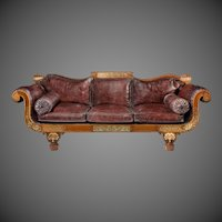A George IV Brass Inlaid Rosewood Country House Three-Seater Sofa Attributed To Gillows