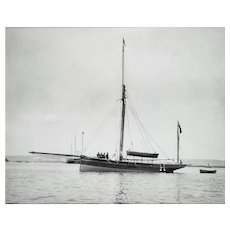 Early Silver Gelatin Photographic Print by Beken of Cowes - Yacht Carletta at Anchor in Newtown Creek