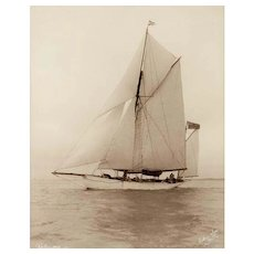Early Silver Gelatin Photographic Print by Beken of Cowes - Yawl Palmosa Royal Thames Yacht Club
