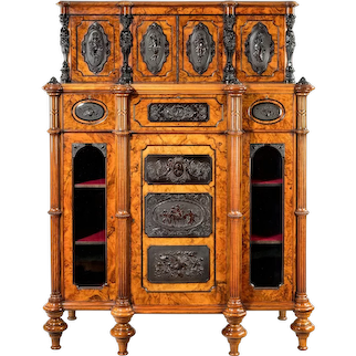Superb quality burr walnut antique cabinet by Lambs of Manchester