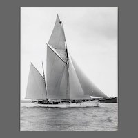Early Silver Gelanin Photographic Print by Beken of Cowes - Ketch Cariad off the Isle of Wight