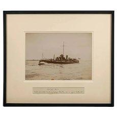 Framed albumen photograph of the Royal Navy Torpedo boat No 79