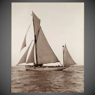 Early silver gelatin photographic print by Beken of Cowes - Yawl Stella Maris