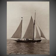 Early silver gelatin photographic print by Beken of Cowes - Yacht Norena racing at Cowes