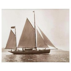 Early silver gelatin photographic print by Beken of Cowes - Yacht Ketch Venture off the Isle of Wight