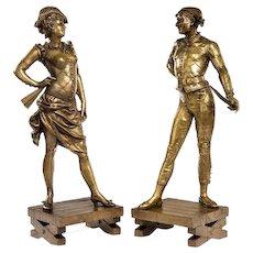 Bronze figures of Harlequin and Columbine