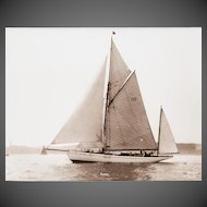 Early silver gelatin photographic print by Beken of Cowes - Yawl Rose off Newtown Creek