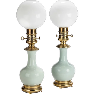 A Pair French Porcelain And Ormolu Mounted Oil Lamps By Gagneau