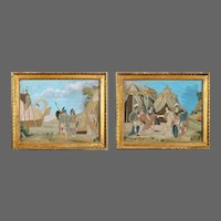 An unusual pair of Italian silk embroidery and gouache painted paper pictures