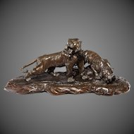 A fine and large Meiji  period bronze of two tigers by Genryusai Seiya