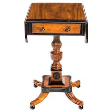 A Ceylonese satinwood and ebony Pembroke table